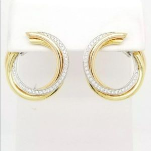 CARTIER 18K YELLOW GOLD AND DIAMOND HOOP EARRINGS